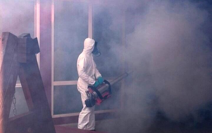 Генератор горячего тумана в действии